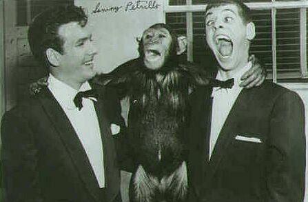 Duke Mitchell, ape, and Sammy Petrillo.
